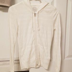 White light weight zip up hoodie xsmall